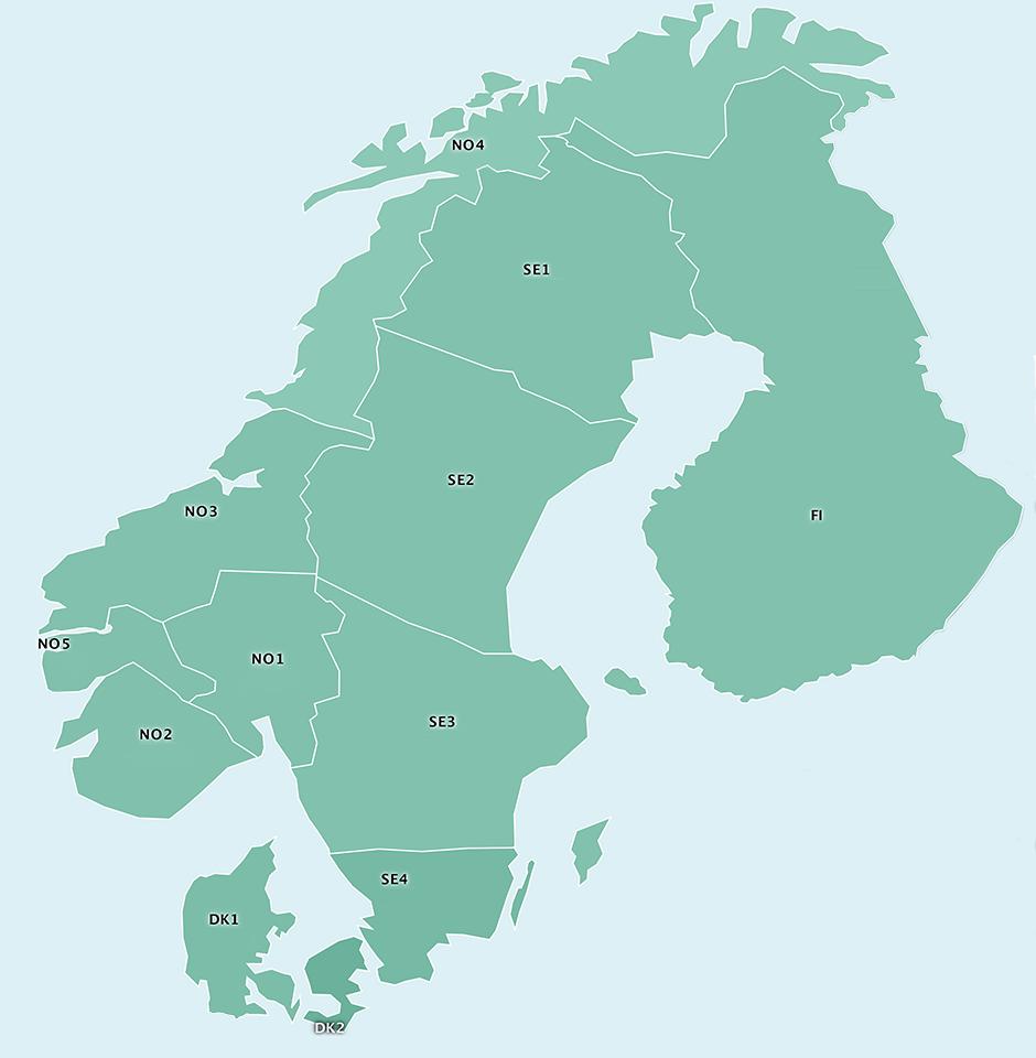 I tillegg til systemprisen beregner Nord Pool områdepriser som tar hensyn til flaskehalser i transmisjonsnettet. Områdeprisene er de prisene som skaper balanse mellom kjøps- og salgsbud fra aktørene innenfor de ulike budområdene i Norden. Norge har de seneste årene vært delt inn i fem budområder, Sverige er delt inn i fire områder, Danmark i to områder, mens Finland består av ett.